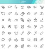 Simple Set of Meat Related Vector Line Icons. Line Set of flat icons about meat Stock Image