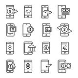 Simple set of mobile money related outline icons. Elements for mobile concept and web apps. Thin line vector icons for website design and development, app Royalty Free Stock Image