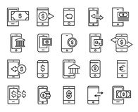 Simple set of mobile money related outline icons. Elements for mobile concept and web apps. Thin line vector icons for website design and development, app Royalty Free Stock Photos