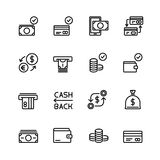 Simple set of money and financial Vector Line Icons. Contains such Icons as Wallet, ATM, Bundle of Money, Coins, Confirming paymen. T, Sack and more. 48x48 Pixel Royalty Free Stock Photos