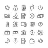 Simple set of money related outline icons. Stock Photos