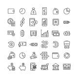 Simple set of money related outline icons. Elements for mobile concept and web apps. Thin line vector icons for website design and development, app development Royalty Free Stock Photos
