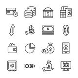 Simple set of money related outline icons. Elements for mobile concept and web apps. Thin line  icons for website design and development, app development Royalty Free Stock Photo