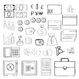 Simple set of money related vector icons for your design. Hand-drawn style. Stock Images