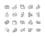 Line Money Icons. Simple Set of Money Related Vector Line Icons. Contains such Icons as Wallet, ATM, Bundle of Money, Hand with a Coin and more. Editable Stroke Royalty Free Stock Image