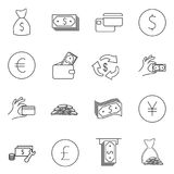 Simple Set of Money Related Vector Line Icons. Contains such Icons as Wallet, ATM, Bundle of Money, Hand with a Coin and more. Edi. Table Stroke Royalty Free Stock Photo