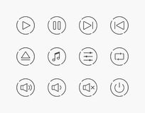 Simple Set of Music Play Control Thin Line Icons Royalty Free Stock Image