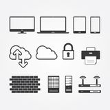 Simple Set of Network and Servers Stock Photography