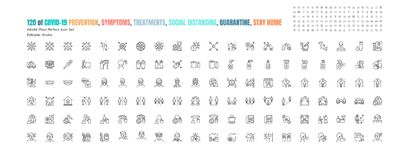 Free Simple Set Of Covid-19 Prevention Line Outline Icons. Such Icons As Protective Measures,, Social Distancing, Symptoms Stock Image - 179580181