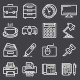 Simple Set of Office Vector Line Icons. Contains such Icons as Business Meeting, Workplace, Office Building, Reception Desk Royalty Free Stock Image
