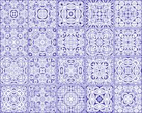 Simple set of ornate tiles. Square patterns in arabic style Royalty Free Stock Photography