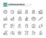 Simple set of outline icons about  prevention and symptoms. Health care