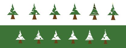 Simple set pine tree christmas icon royalty free illustration