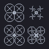 Simple set of pixel art style light blue Royalty Free Stock Photography