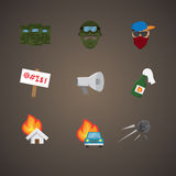 Simple set of protest related vector flat icons Royalty Free Stock Image