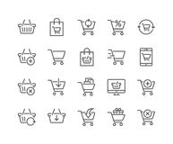 Line Shopping Cart Icons Stock Images