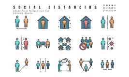 Simple Set of Social Distancing, Coronavirus Disease 2019 Covid-19 Filled Line Icons such Icons as Stay Home, Quarantine, Work