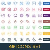 Simple Set of Start Up, Business, Audio, Music, Video, Cinema, Christmas, Game Related Vector Line Icons. Stock Photos