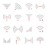Simple set of thin red and black wifi icons Stock Photography