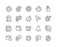 Line Time Management Icons. Simple Set of Time Management Related Vector Line Icons. Contains such Icons as Milestone, Reminder, Goal, Working Hours and more royalty free illustration