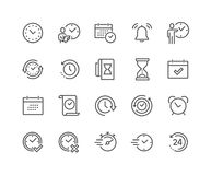 Line Time Icons. Simple Set of Time Related Vector Line Icons. Contains such Icons as Time Inspection, Log, Calendar and more. Editable Stroke. 48x48 Pixel vector illustration