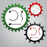 Simple set to Interface Arrows. Vector. Three connected gears wi royalty free illustration