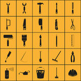 Simple set of tools related  icons. Vector black construction tools icons set Stock Photography