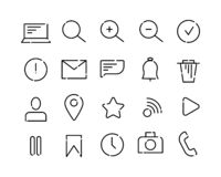 Simple set of vector icons on the theme of web and app. Black dotted lines on a white background. Letter, search, message royalty free illustration