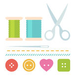 Simple sew set. With buttons, scissors, needle and spool of thread in flat style Royalty Free Stock Image