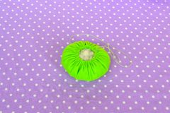 Making felt pin cushion. How to make a felt pin cushion, step-by-step. Simple sewing for kids. Hand sewing projects for beginners Royalty Free Stock Photography