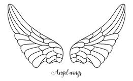 Simple shape of angel wings, black line on white Royalty Free Stock Image