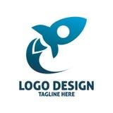 Rocket logo design. Simple shape of blue rocket logo design Stock Image