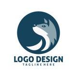 Circle wolf logo design. Simple shape of circle wolf logo design Royalty Free Stock Photo