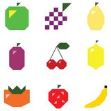 Simple shape fruits and berries Royalty Free Stock Image