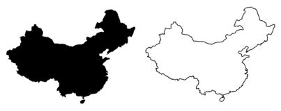 Simple only sharp corners map of China vector drawing. Filled. And outline version royalty free illustration