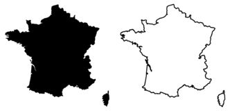 Simple only sharp corners map of France vector drawing. Mercat. Or projection. Filled and outline version royalty free illustration
