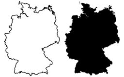 Simple only sharp corners map of Germany vector drawing. Mercator projection. Filled and outline version. royalty free illustration