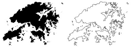 Simple only sharp corners map of Hongkong Hong Kong Special A. Dministrative Region of China vector drawing. Mercator projection. Filled and outline version royalty free illustration