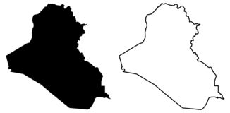 Simple only sharp corners map of Iraq vector drawing. Mercator. Projection. Filled and outline version vector illustration