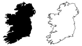 Simple only sharp corners map of Ireland whole island, includ. Ing northern British part vector drawing. Mercator projection. Filled and outline version royalty free illustration