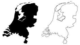 Simple only sharp corners map of Netherlands vector drawing. M. Ercator projection. Filled and outline version stock illustration