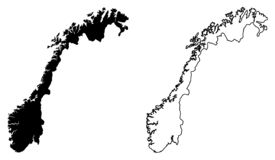 Simple only sharp corners map of Norway vector drawing. Mercat. Or projection. Filled and outline version vector illustration