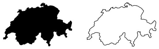 Simple only sharp corners map of Switzerland vector drawing. Mercator projection. Filled and outline version. Simple only sharp corners map of Switzerland vector illustration