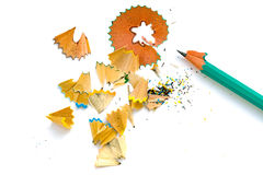 A simple sharpened pencil with peelings Royalty Free Stock Image