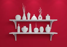 Simple shelves on a wall. Royalty Free Stock Images