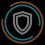 Simple Shield Thin Line Vector Icon royalty free illustration