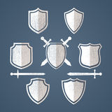 Simple shields badges design. Just place your own vector illustration