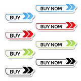 Simple shopping cart, menu items, buttons with arrows - labels, stickers on the white background Stock Photo