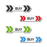 Simple shopping cart, menu items, buttons with arrows - labels, stickers on the white background Royalty Free Stock Image