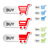 Simple shopping cart, menu items, white buttons with trolley Royalty Free Stock Image